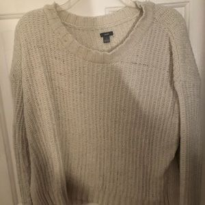 American Eagle White Crew Sweater